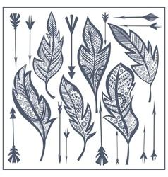 Set tribal feathers arrow zentangle vector image