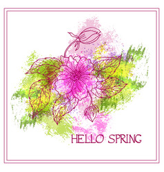 Spring greeting card with flower on watercol vector