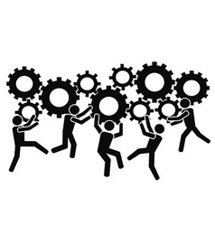 teams working with gears vector image vector image