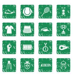 Tennis icons set grunge vector