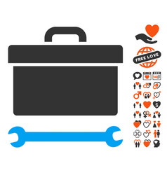 Toolbox icon with dating bonus vector