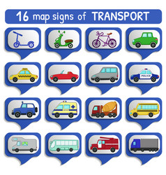 Urban transports map sign set vector