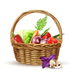 Vegetables harvest wicker basket realistic image vector