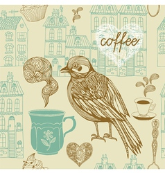 Vintage Birds Coffee Pattern vector image