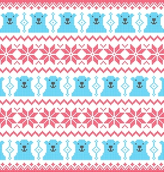 Winter Christmas red and bear seamless pixelated vector image