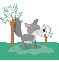 wolf animal caricature in forest landscape vector image
