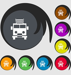 Fire engine icon sign symbols on eight colored vector