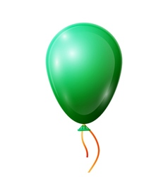 Realistic green balloon with ribbon isolated on vector