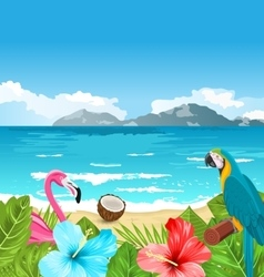 Exotic wallpaper with parrot ara pink flamingo vector