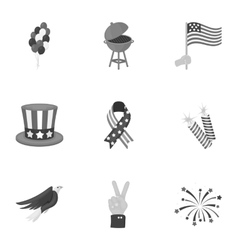 Patriot day set icons in monochrome style big vector
