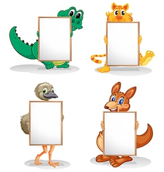 Wild animals with empty bulletin boards vector
