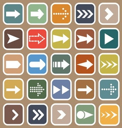 Arrow flat icons on brown background vector image
