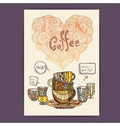 Decorative sketch of cup of coffee vector