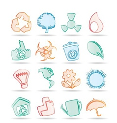 simple ecology and recycling icons vector image