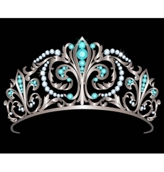 Diadem with diamonds and aquamarines vector