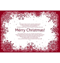 Red christmas frame with snowflakes vector