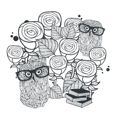 Monochrome print of cute roses and clever owls vector