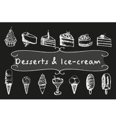 Chalk desserts and ice-cream set vector image