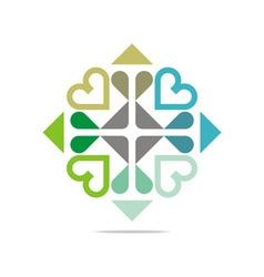 Logo heart plus abstract design business vector