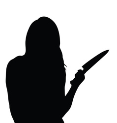 Girl silhouette with knife vector