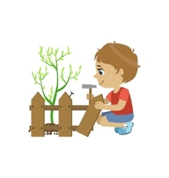 Boy fixing the fence vector