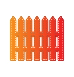 Fence simple sign orange applique isolated vector