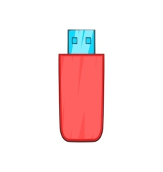 Red USB flash drive icon cartoon style vector image