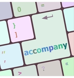 Accompany button on the keyboard close-up vector