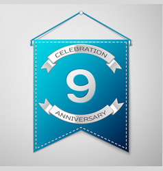 blue pennant with inscription nine years vector image