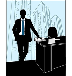 Businessmen Office silhouette vector image