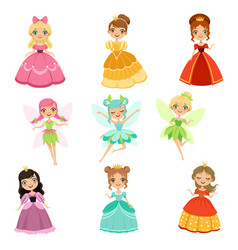 cartoon funny fantasy princesses in different vector image