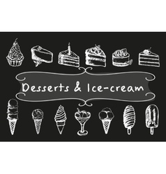 Chalk desserts and ice-cream set vector image