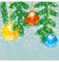 Christmas tree branch with baubles vector image