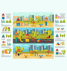Colorful playground infographic concept vector