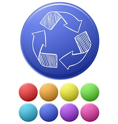 Colourful circles with a recycle symbol vector image
