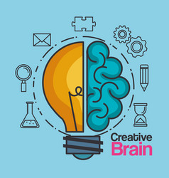 Creative brain idea lightbulb innovation vector