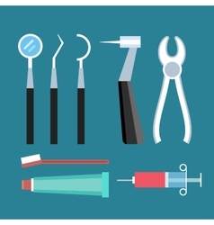 Dentist patient girl with toothache tools vector image vector image