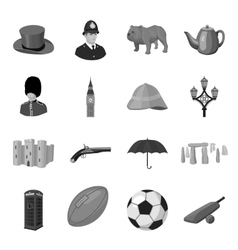 England country set icons in monochrome style big vector