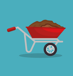 Garden wheelbarrow soil isolated icon vector