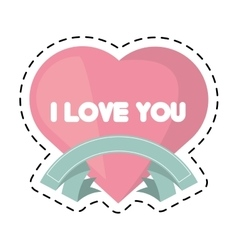 heart i love you ribbon cut line vector image