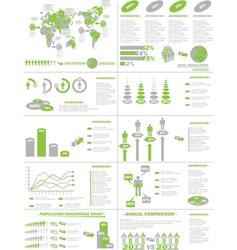 INFOGRAPHIC DEMOGRAPHICS WEB ELEMENTS GREEN vector image vector image