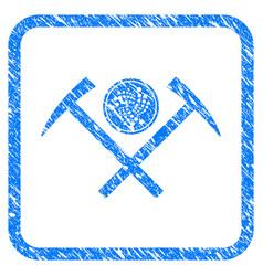 Iota coin mining hammers framed stamp vector