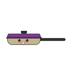 kawaii frying pan for cooking handle cartoon vector image