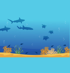 Landscape of underwater with shark and turtle vector