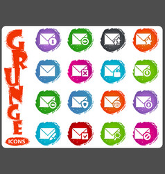 mail and envelope icons set in grunge style vector image
