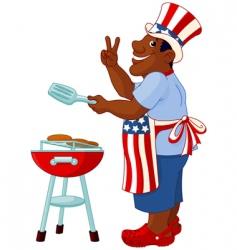man cooking a hamburger vector image