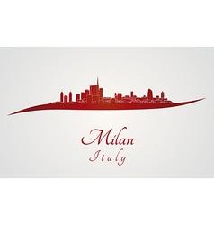 Milan skyline in red vector
