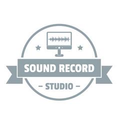 Modern sound studio logo simple gray style vector