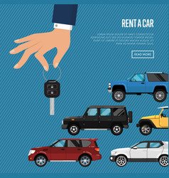 Rent a car poster with hand holding auto key vector