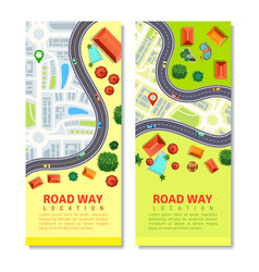 roadway map vertical banners vector image